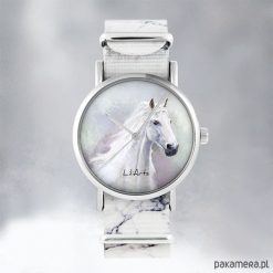 Zegarek - Biały koń - marmurkowy, nato. Białe zegarki męskie Pakamera. Za 129,00 zł.