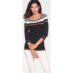 Swetry oversize damskie: Sweter w kolorze czarno-biało-jasnobrązowym