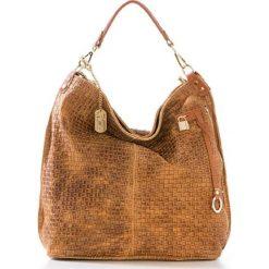 Torebki klasyczne damskie: Skórzana torebka w kolorze jasnobrązowym – 42 x 38 x 17 cm