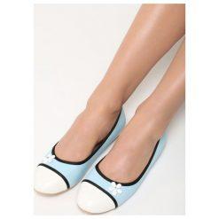 Niebieskie Balerinki White Daisy. Białe baleriny damskie Born2be, ze skóry, na płaskiej podeszwie. Za 49,99 zł.