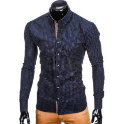 KOSZULA MĘSKA Z DŁUGIM RĘKAWEM K412 - GRANATOWA. Brązowe koszule męskie marki Ombre Clothing, m, z aplikacjami, z kontrastowym kołnierzykiem, z długim rękawem. Za 49,00 zł.
