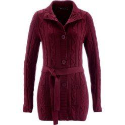 Długi sweter rozpinany bonprix czerwony klonowy. Niebieskie kardigany damskie marki bonprix, z nadrukiem. Za 109,99 zł.