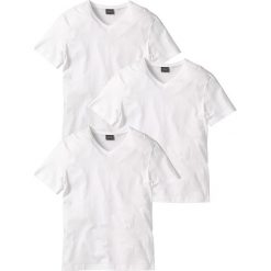 T-shirty męskie: T-shirt z dekoltem w serek (3 szt.) Regular Fit bonprix 3x biały