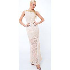 Sukienka koronkowa długa beżowa G5282. Brązowe sukienki Fasardi, l, z koronki, z długim rękawem, maxi, oversize. Za 69,00 zł.