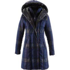 Płaszcz pikowany bonprix ciemnoniebieski w kratę. Niebieskie płaszcze damskie bonprix. Za 169,99 zł.
