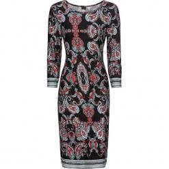 Sukienka bonprix czarny z kolorowym nadrukiem. Czarne sukienki rozkloszowane bonprix, w kolorowe wzory, z dżerseju, z okrągłym kołnierzem. Za 89,99 zł.