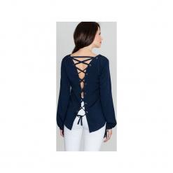 Bluzka K385 Granat. Niebieskie bluzki longsleeves Lenitif, m, z dekoltem na plecach. Za 119,00 zł.