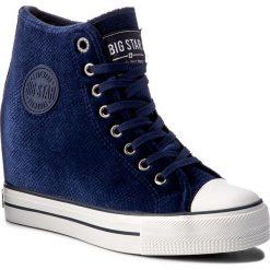 Sneakersy BIG STAR - Y274069 Navy. Szare sneakersy damskie marki BIG STAR, z materiału, z okrągłym noskiem, na sznurówki. Za 129,00 zł.
