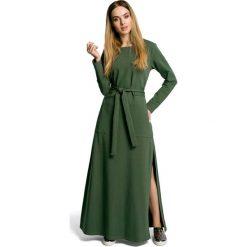 Zielona Sukienka Dresowa Maxi z Dekoltem Caro z Rozcięciem. Zielone długie sukienki marki Molly.pl, l, w paski, z bawełny, oversize. Za 149,90 zł.