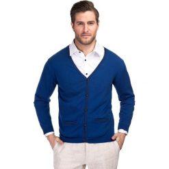 Sweter ARCADIO 13-29JK. Niebieskie swetry rozpinane męskie Giacomo Conti, m, z bawełny, z kontrastowym kołnierzykiem. Za 169,00 zł.