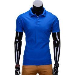 KOSZULKA MĘSKA POLO BEZ NADRUKU S715 - NIEBIESKA. Niebieskie koszulki polo Ombre Clothing, m, z nadrukiem, z materiału. Za 39,00 zł.
