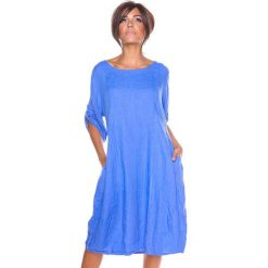 """Sukienki hiszpanki: Lniana sukienka """"Sarah"""" w kolorze niebieskim"""