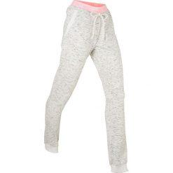 Spodnie damskie: Spodnie dresowe z neonowymi elementami, długie bonprix biały melanż
