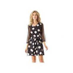 Sukienka trapezowa z tiulowymi rękawami Keira koła ED023-2. Czarne sukienki balowe marki Ella dora, xl, w koronkowe wzory, z koronki, z falbankami, dopasowane. Za 229,00 zł.