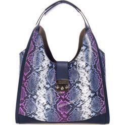 Torebki klasyczne damskie: Skórzana torebka w kolorze czarno-niebieskim – (S)38 x (W)50 x (G)15 cm