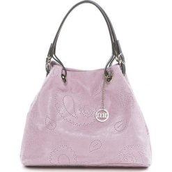 Torebki klasyczne damskie: Skórzana torebka w kolorze brudnego różu – 42 x 38 x 17 cm
