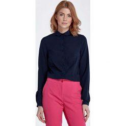 Bluzki damskie: Granatowa Bluzka Koszulowa z Okrągłym Kołnierzykiem