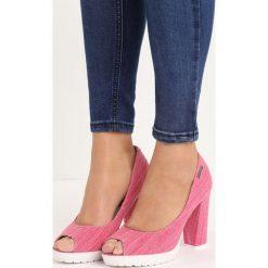 Różowe Czółenka Pepen. Czerwone buty ślubne damskie Born2be, z denimu, z otwartym noskiem, na obcasie. Za 49,99 zł.