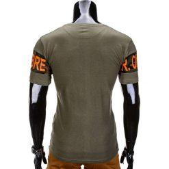 T-SHIRT MĘSKI Z NADRUKIEM S842 - KHAKI. Brązowe t-shirty męskie z nadrukiem marki Ombre Clothing, m. Za 29,00 zł.