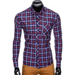 Koszule męskie na spinki: KOSZULA MĘSKA W KRATĘ Z DŁUGIM RĘKAWEM K416 – GRANATOWA/CZERWONA