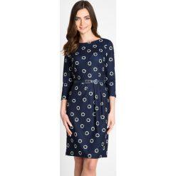 Sukienki: Granatowa sukienka w koła QUIOSQUE