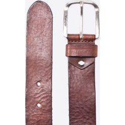 Wrangler - Pasek skórzany. Brązowe paski męskie Wrangler, w paski, z materiału. Za 179,90 zł.