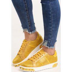 Żółte Buty Sportowe Capricorn. Pomarańczowe buty sportowe damskie marki Born2be, z materiału. Za 79,99 zł.