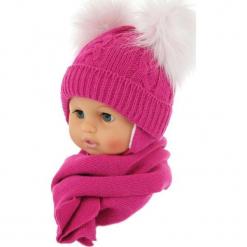 Czapka niemowlęca z szalikiem CZ+S 016F. Różowe czapeczki niemowlęce Proman. Za 47,14 zł.