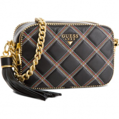 Torebka GUESS - HWARIQ L8239 BLACK MULTI. Czarne torebki klasyczne damskie marki Guess, z aplikacjami, ze skóry. Za 859,00 zł.