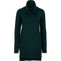 Długi sweter dzianinowy bonprix ciemnozielony. Brązowe golfy damskie marki DOMYOS, xs, z bawełny. Za 89,99 zł.