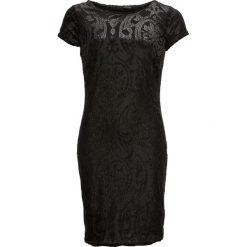 Sukienka z dżerseju z brokatowym nadrukiem bonprix czarno-srebrny. Sukienki małe czarne bonprix, z nadrukiem, z dżerseju, z okrągłym kołnierzem, z krótkim rękawem. Za 149,99 zł.