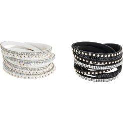 Bransoletki damskie: Skórzane bransoletki (2 szt.) ze szklanymi kryształkami