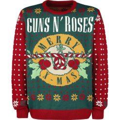 Guns N' Roses Holiday Sweater Sweter z dzianiny czerwony/zielony. Czerwone swetry klasyczne męskie Guns N' Roses, xl, z dzianiny, z klasycznym kołnierzykiem. Za 184,90 zł.