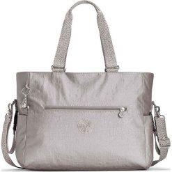 """Torba """"Adora"""" w kolorze srebrnym na akcesoria do przewijania - 45 x 24 x 15 cm. Szare torebki klasyczne damskie Kipling, w paski, z materiału. W wyprzedaży za 215,95 zł."""