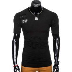 T-shirty męskie: T-SHIRT MĘSKI Z NADRUKIEM S957 - CZARNY