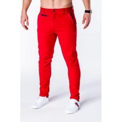 Spodnie męskie: SPODNIE MĘSKIE CHINO P646 – CZERWONE