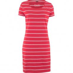Sukienka shirtowa ze stretchem, krótki rękaw bonprix czerwono-biały w paski. Białe sukienki mini bonprix, w paski, z krótkim rękawem. Za 34,99 zł.
