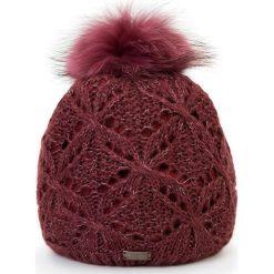 Czapka damska 87-HF-004-2. Czerwone czapki zimowe damskie Wittchen, na zimę, w ażurowe wzory, z dzianiny. Za 89,00 zł.