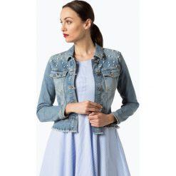 Bomberki damskie: talk about - Damska kurtka jeansowa, niebieski