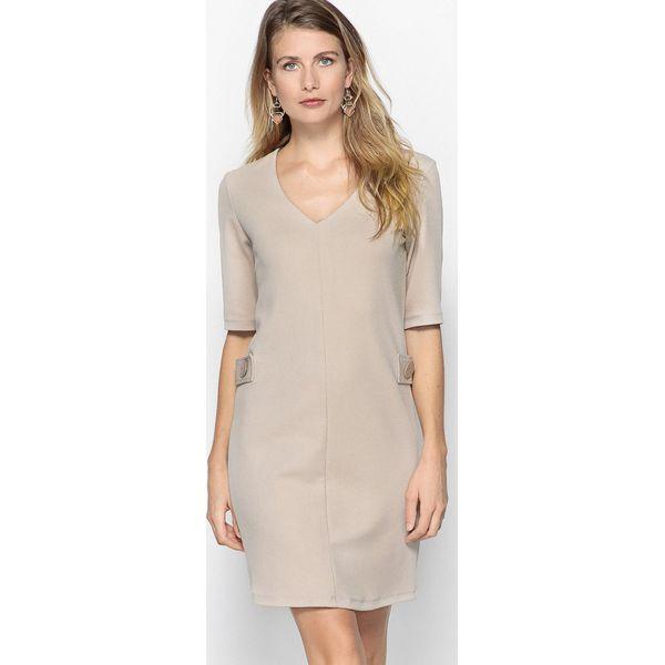 84b4d0aaa1 Prosta sukienka z dzianiny strukturalnej - Szare sukienki damskie ...