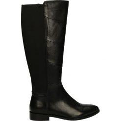 Kozaki ocieplane - JEWEL1604 BLA. Czarne buty zimowe damskie marki Kazar, ze skóry, na wysokim obcasie. Za 259,00 zł.