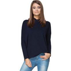 Bluzy sportowe damskie: Granatowa Bluza Sportowa Nierozpinana z Kapturem