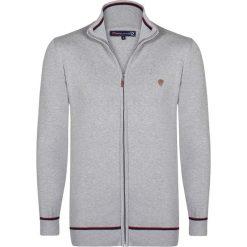Golfy męskie: Sweter rozpinany w kolorze szaro-czarnym