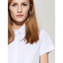 Koszula z krótkim rękawem - Biały. Szare koszule męskie marki House, l, z bawełny. W wyprzedaży za 49,99 zł.