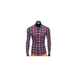 KOSZULA MĘSKA W KRATĘ Z DŁUGIM RĘKAWEM K397 - GRANATOWY/CZERWONY. Brązowe koszule męskie na spinki marki Ombre Clothing, m, z aplikacjami, z kontrastowym kołnierzykiem, z długim rękawem. Za 69,00 zł.