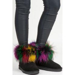 Buty zimowe damskie: Skórzane mukluki multikolor CYDNEE