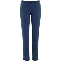 """Legginsy dżinsowe """"SKINNY"""" bonprix niebieski """"stone"""". Zielone legginsy marki bonprix, w kropki, z kopertowym dekoltem, kopertowe. Za 74,99 zł."""