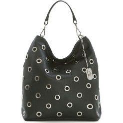 Torebki klasyczne damskie: Skórzana torebka w kolorze czarnym – 32 x 30 x 10 cm