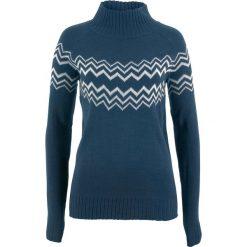 Swetry klasyczne damskie: Sweter bonprix ciemnoniebiesko-biel wełny