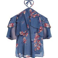 Bluzka z nadrukiem bonprix niebieski w kwiaty. Niebieskie bluzki asymetryczne bonprix, w kwiaty. Za 59,99 zł.